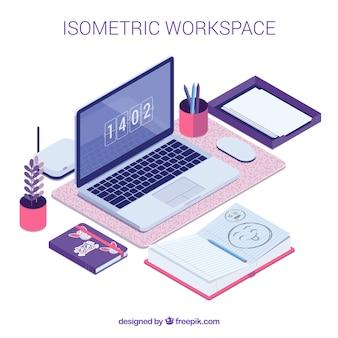 Изометрическое рабочее пространство с оригинальным стилем