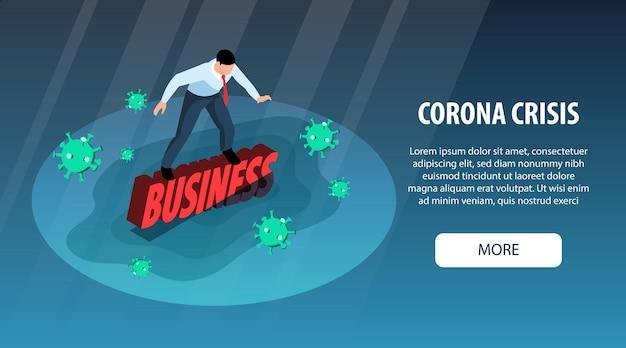 Изометрические мировой финансовый кризис горизонтальный баннер с тонущим бизнесменом, летающим вирусными бактериями, еще кнопка и текст