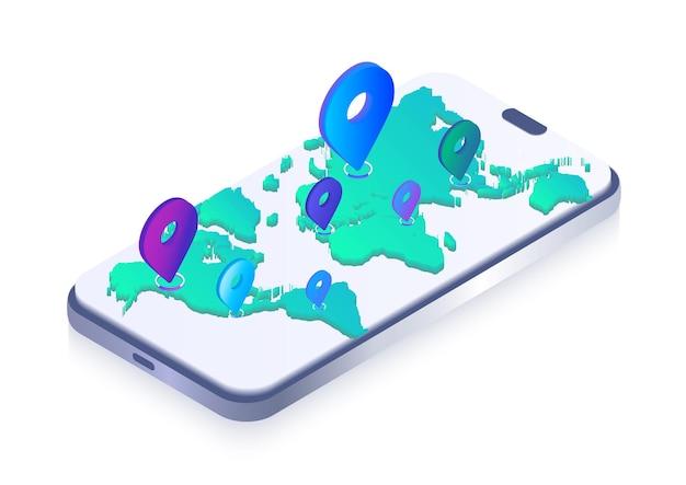Изометрическая карта мира с булавками на экране телефона объемные векторные иллюстрации