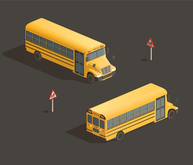 Isometric yellow school bus isolated illustration