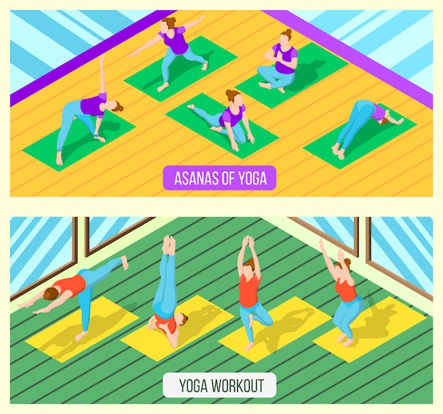 Isometric yoga banner set