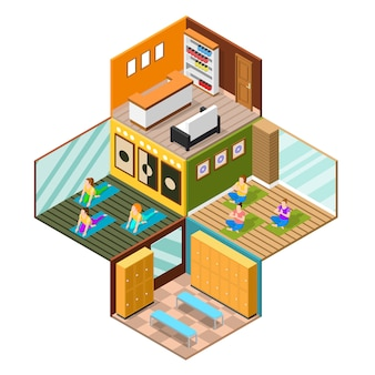 Isometric yoga studio background