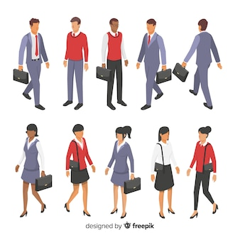 Isometric young business people