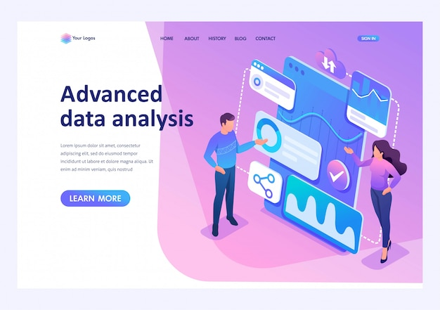 Isometric young entrepreneurs review reports and analyze data.template landing page for website