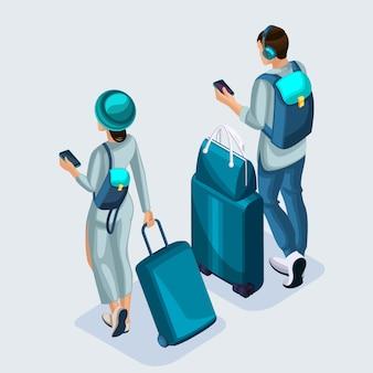 Изометрические молодая девушка и мужчина в аэропорту, чемоданы, вещи. подростки отправляются в отпуск через международный аэропорт