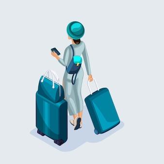 Изометрические молодая девушка в аэропорту и ждет ее полета, документы, чемоданы и вещи для путешествий и путешествий