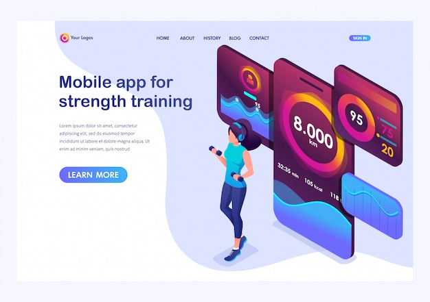 Isometric  young girl is engaged in power training mobile app tracks your activity.
