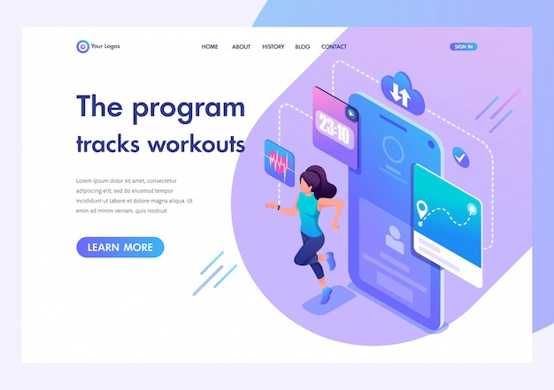 Isometric young girl running, the program tracks her workout. template landing page for website