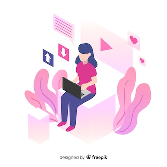 Isometric young girl using technological devices background