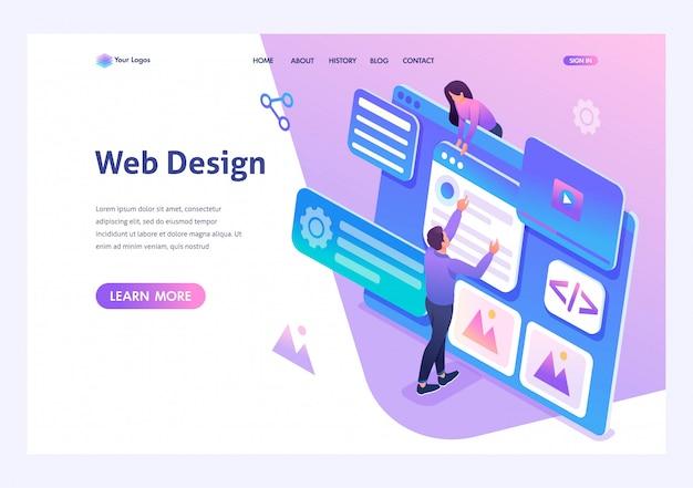 Изометрические молодые люди занимаются веб-дизайном, разработкой страниц сайта. шаблон целевой страницы для сайта