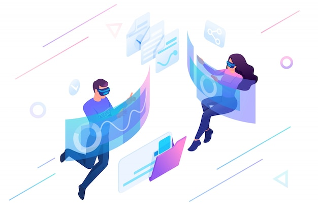 Isometric of young people using augmented reality