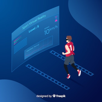 Isometric young person running using technological devices background