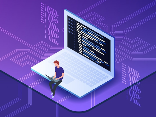 Isometric of young programmer coding a new project using computer.