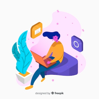 Isometric young woman using technological devices background