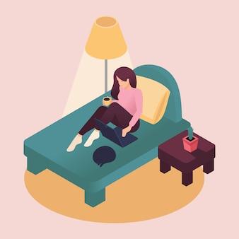 집에서 일하는 아이소 메트릭 젊은 여자 애완 동물을 돌보는 노트북 침대에 앉아. 플랫 스타일의 컬러 일러스트