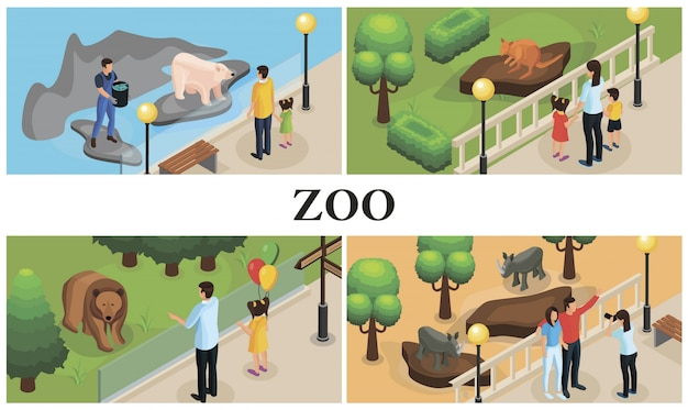 Isometric zoo animals colorful composition with parents children zookeepers rhinos kangaroos polar and brown bears