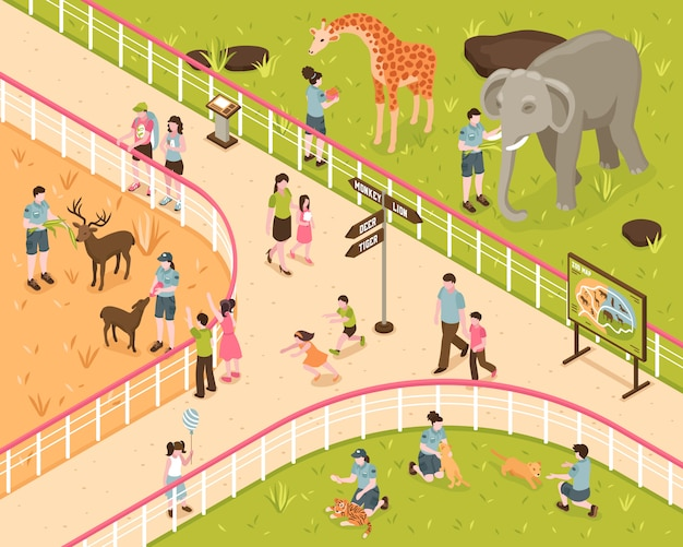 Isometric zoo composition with human characters of kids and adults with wild animals behind park fence