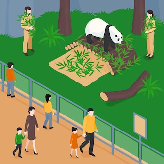 Isometric zoo composition with view of panda park with bamboo leaves workers and visitors behind barrier illustration