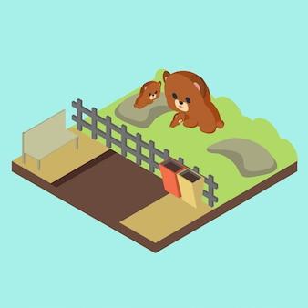 Isometric zoo illustration
