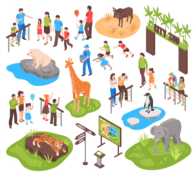 Изометрические зоопарк