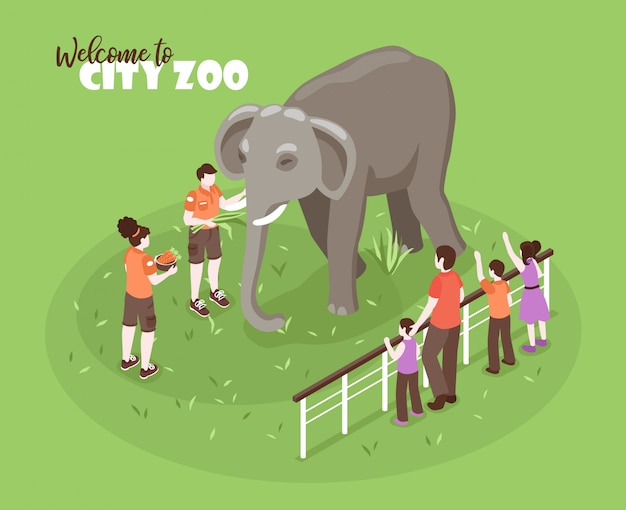 Isometric zoo workers color background with editable text and human characters with kids and big elephant