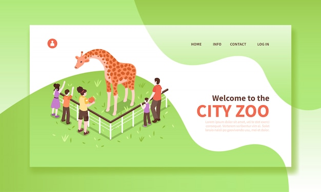 Isometric zoo workers horizontal banner website page with clickable text editable captions people characters and giraffe