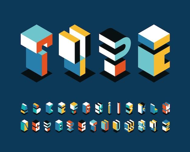 Изометрический английский алфавит, графический декоративный шрифт ярких фигур.