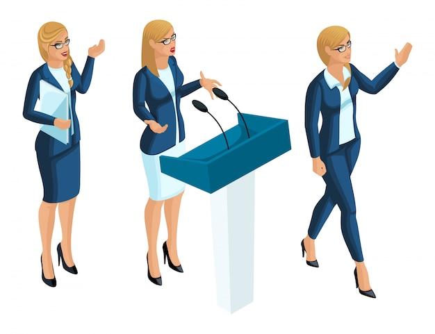 等尺性ビジネスの女性、プレゼンター、ジャーナリスト、大統領候補。