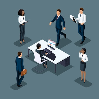 Бизнесмен изометрии на сером фоне разных национальностей занимается бизнесом. развитие международного бизнеса, конференции, встречи набор 3