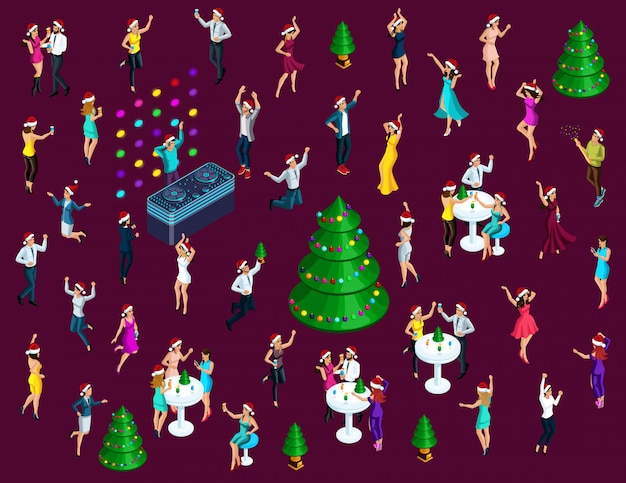 Isometrics celebrating christmas, a lot of  men and women have fun dancing, jumping