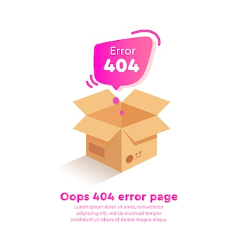 Isometrics design 404 error with empty box on website page