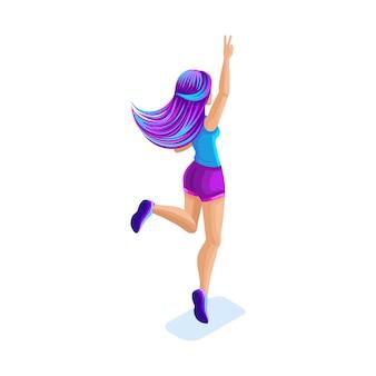 Изометрическая девушка прыгает, веселится, счастлива с яркими волосами, концепция волшебных волос, креативная модная прическа, вид сзади