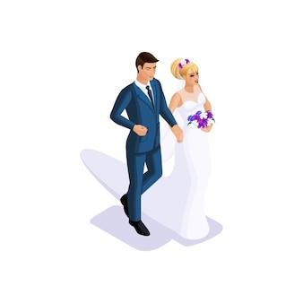 신랑과 신부의 등각 투영법은 팔에 결혼하고, 꽃 부케가 달린 아름다운 드레스를 입은 신부, 양복을 입은 신랑