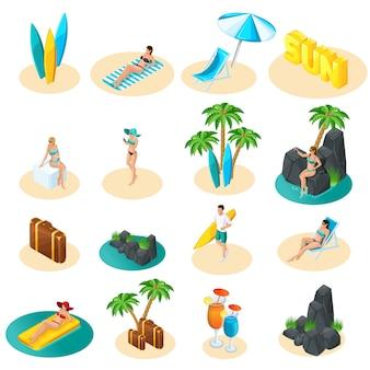 ビーチ、ビキニの女の子、サーフボードを持つ男、ヤシの木、太陽、海のイラストのアイコンセットの等尺性