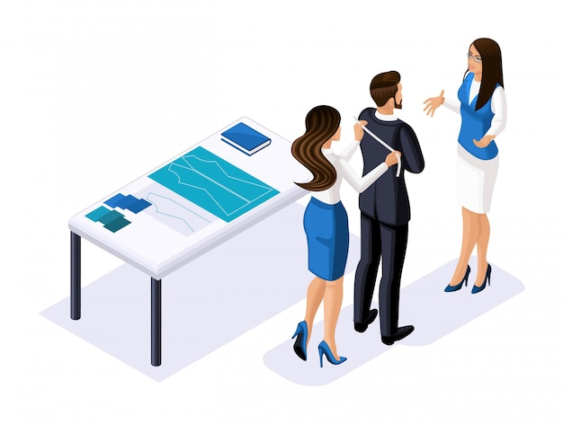 Isometrics tailor, the designer works with the client, business lady talks to the businessman, studio, workshop. the entrepreneur working for himself, h