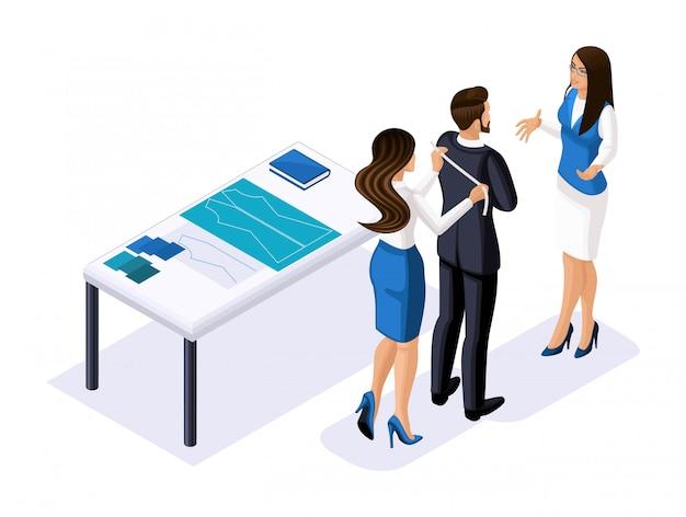 Пошив изометрии, дизайнер работает с заказчиком, бизнес-леди беседует с бизнесменом, ателье, мастерская. предприниматель, работающий на себя, ч.