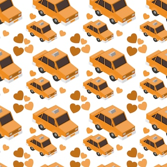 Isometrics taxis and hearts pattern background