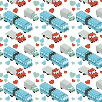 Isometrics trucks and hearts pattern background