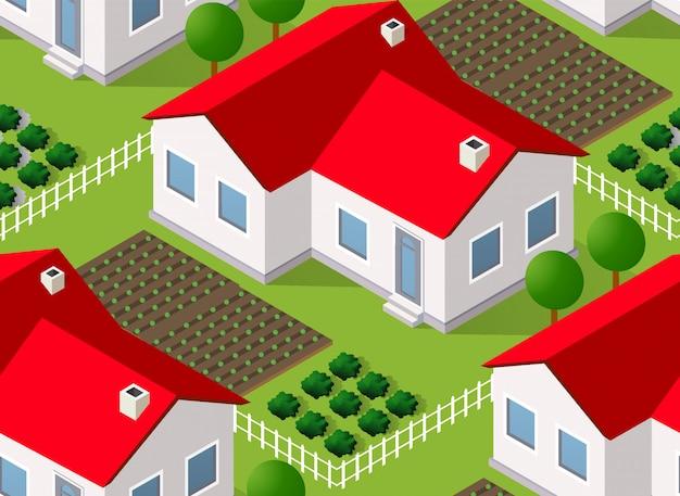 Isometrics village seamless pattern