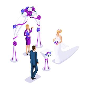 결혼식을 방문하는 등각 투영법, 신랑 신부 결혼 등록, 등록 사무소 직원이 결혼을 마감합니다.