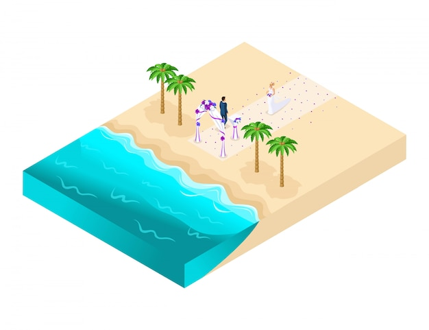 Isometrics of the wedding ceremony on the beach, groom waiting for the bride registration on the beach illustration