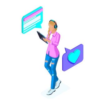 Isometrics 어린 소녀는 태블릿, 전화, 스마트 폰, 블로거의 소셜 네트워크에서 통신합니다. 청소년 및 가제트