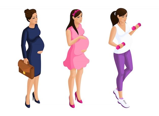 アイソメトリーさまざまな形の妊婦、ビジネスウーマンが散歩に出かけ、スポーツに出かけます。イラストのキャラクターセット