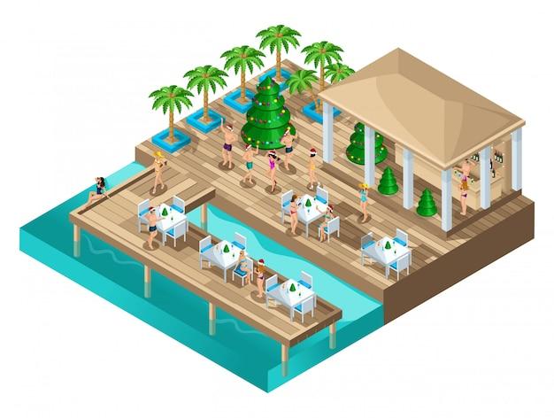 ビーチ、パーティー、誕生日パーティー、イビサ島、海で踊るアイソメトリー。ビーチ、素晴らしい天気、休息、エンターテイメント