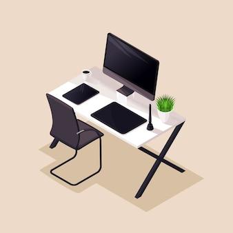 アイソメ、デスクトップ、快適な職場、モニター、グラフィックタブレット、快適な椅子。イラストの美しいコンセプト