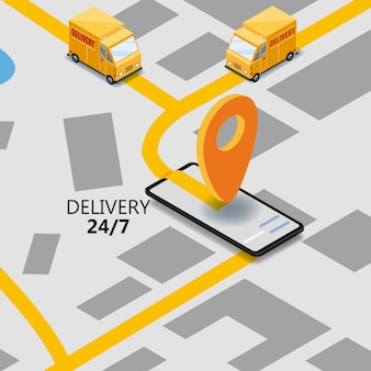 Isometry express cargo delivery route navigation map of the city, smartphone, van delivery point, truck