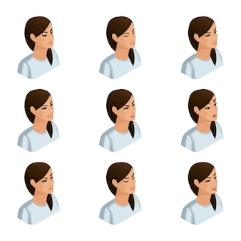 Isometry icons of the emotion of a business woman,  heads of hair, faces, eyes, lips, nose. facial expression. qualitative isometry of people for