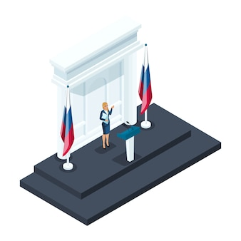 アイソメトリーは大統領候補の女性候補であり、候補者はクレムリンでの説明会で話します。スピーチ、ロシアの旗、選挙、投票