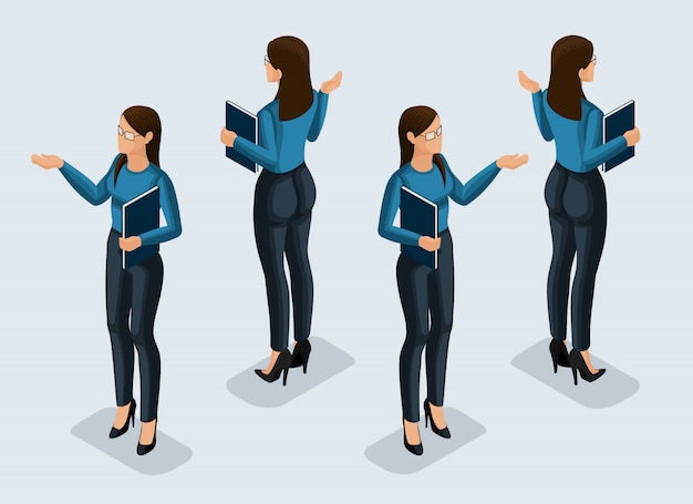 Isometry is a business woman.  girl office worker, in a business suit front view and rear view. human icon for  illustrations
