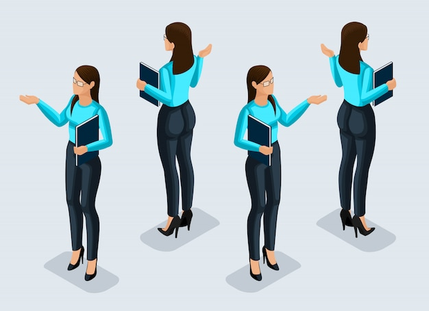 Isometry is a business woman.  office worker. girl in business suit view from front and rear view. human icon for  illustrations